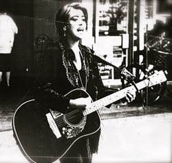 Mel during her busking days in Cambridge